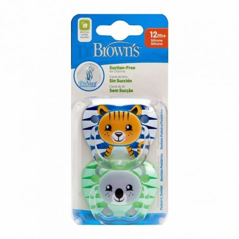 Dr Brown´S Chupete Prevent Silicona +12 Meses Azul 2 Uds